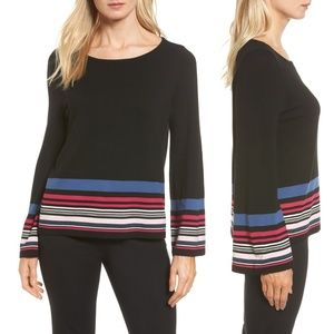 Vince Camuto Color Stripe Bell Sleeve Sweater L XL